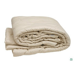 Sleep & Beyond - Organic Merino Wool Comforter - Sleep and Beyond comforters provide relief from MCS (multiple chemical sensitivities) as they are free of carcinogenic chemicals. They're perfect for all-year round comfort since they breathe more naturally than down and synthetic products which regulate body temperature by ensuring the body gets to a comfortable sleeping temperature more quickly and stay there for longer. They increase the duration of the most beneficial phase of sleep known as REM (rapid eye movement) and last for decades when properly cared for. Wool out-performs other fibers used for bedding. These comforters have been scientifically tested and proven to slow your pulse rate which is a sign of deeper relaxation. They eliminate excess moisture buildup throughout the night and allow you to spend less time tossing and turning. Features: -Certified organic cotton sateen.-300 Thread Count.-Certified organic superfine merino wool filling.-Eco-Friendly cotton packaging.-Washable cover is recommended.-Regular sunning and airing.-Naturally revitalize and disinfect wool bedding.-Do not machine wash or dry.-Spot clean with soft brush and mild detergent.-Air dry completely.-Collection: Organic.-Distressed: No.Dimensions: -Twin: 66'' W x 86'' D.-Queen: 86'' W x 86'' D.-King: 100'' W x 86'' D.-Product weight: 8 lbs.