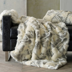 """Peacock Alley - Peacock Alley Fabiana Throw Blanket - The Peacock Alley Fabiana throw blanket exudes luxurious modernity. In a soft cream and gray pearl hue, this plush cover indulges with alluring faux fur texture. 50""""W x 62""""H; Suede back; Acrylic; Feather and down form insert included; Professional cleaning recommended; Made in the USA"""