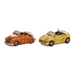 Orange and Yellow Polystone Car Piggy Bank, Set of 2 - Description: