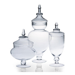 Frontgate - Apothecary Jars - Tall - Made from soda lime glass. Mouth blown. Hand wash recommended. These stately glass Apothecary Jars are generously sized to hold everything from candy, popcorn, small snacks to your favorite knick knacks, keepsakes or prized objets.. . . Imported.