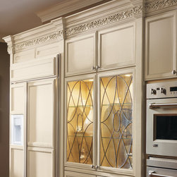 Decora Kensington Art Glass Doors - Ovals and diamond patterned glass insert with black leading.