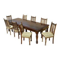 """Sierra Living Concepts - Colonial Farmhouse Wood 9pc Dining Set w Upholstered Chairs - Celebrate tradition and enjoy modern comfort with our handmade Colonial Farmhouse Dining Room Set. This solid hardwood dining ensemble includes a 108"""" table and 8 hand crafted chairs."""