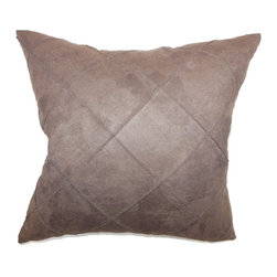 """The Pillow Collection - Nesbitt Plain Pillow Brown 18"""" x 18"""" - Soft and rich, this faux suede throw pillow is ideal for your space. This brown colored accent pillow is suitable for large chairs, sofa, bed and other furniture. This square pillow is easy to pair with other throw pillows like solids and patterns. Mix and match this with complementary colors to create a wonderful contemporary look for your space. This decor pillow is made from faux suede fabric. Hidden zipper closure for easy cover removal.  Knife edge finish on all four sides.  Reversible pillow with the same fabric on the back side.  Spot cleaning suggested."""