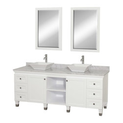 "Wyndham - Premiere 72"" Double Bathroom Vanity Set - White - A bridge between traditional and modern design, and part of the Wyndham Collection Designer Series by Christopher Grubb, the Premiere Single Vanity is at home in almost every bathroom decor, blending the simple lines of modern design like vessel sinks and brushed chrome hardware with transitional elements like shaker doors, resulting in a timeless piece of bathroom furniture.; White Finish; Constructed of solid, environmentally friendly, low emissions wood, engineered to prevent warping and last a lifetime; Solid marble counter - White Carrera; Soft-close drawer glides; Soft-close doors; Square White Porcelain Sink; Includes matching mirror; Pre-drilled for single hole faucet, but can be drilled on-site for three hole faucets; Dimensions: Vanity 72 x 22-1/2 x 36 (including sink); Mirror 24-1/4 x 36-1/4"
