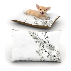 """Kess InHouse - Monika Strigel """"Cherry Sakura White"""" Floral Nature Fleece Dog Bed (18"""" x 28"""") - Pets deserve to be as comfortable as their humans! These dog beds not only give your pet the utmost comfort with their fleece cozy top but they match your house and decor! Kess Inhouse gives your pet some style by adding vivaciously artistic work onto their favorite place to lay, their bed! What's the best part? These are totally machine washable, just unzip the cover and throw it in the washing machine!"""