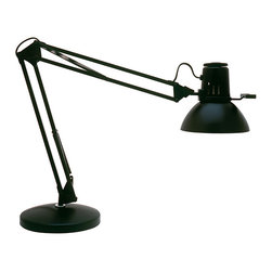 "Dainolite - Dainolite 36"" Task Lamp with Heavy Base - Spring Balanced Arm Desk Lamp, 36"" Reach, Gloss Black finish"