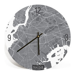 "ArtnWalls - NEW YORK CITY Map Art Wall Clock - Unique Contemporary Art Wall clock , 16"" - Abstract New York City map art - Features the streets of New York."