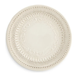 "Arte Italica - Finezza Cream Salad/Dessert Plate - The Finezza Cream plate adorns an intricate lace design on its border. Perfect charger under Merletto and Splendore or used as a serving piece. Italian ceramic, Handmade in Italy. As with all handmade items, slight differences in color or size are to be expected. These differences highlight the one-of-a-kind nature of handmade products and do not constitute defect. Dishwasher Safe. Dimensions: 7"" D"