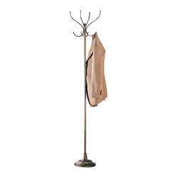 Adarn Inc. - Metal Clean Line Metallic coat Hat Rack Racks Hall Tree Hanger Sturdy Round Base - Update your entryway with the simple design and subtle sheen of this metallic coat rack. A sturdy round base anchors the coat rack and provides a beautiful stacked contrast to the simple pole and hook design. Ample hook storage surrounds the top, which is ideally proportioned for hanging coats, jackets and hats. A fantastic metallic finish completes the slightly contemporary look of this coat rack.