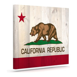 """Kess InHouse - Bruce Stanfield """"California Flag Wood"""" Brown Wrapped Art Canvas (30"""" x 24"""") - Bring your outdoor patio to life with this artistic outdoor canvas wrap featuring gorgeous artwork by KESS InHouse. These canvases are not only easy to hang and remove but also are the perfect addition to your patio collection. These canvases are stretched around a wooden frame and are built to withstand the elements and still look artistically fabulous. Decorating your patio and walls with these prints will add the splash of art and color that is needed to bring your patio collection together! With so many size options and artwork to choose from, there is no way to go wrong with these KESS Canvas Wraps!"""