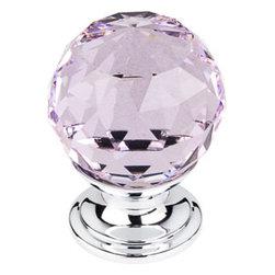 "Top Knobs - Pink Crystal Knob 1 1/8"" w/ Polished Chrome Base - Width - 1 1/8"", Projection - 1 1/2"", Base Diameter - 15/16"""