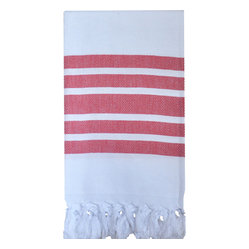Luxe Lake Herringbone Bath Towel,  Red
