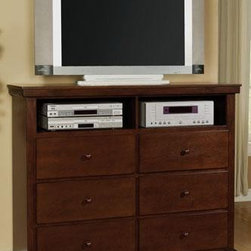 Acme Furniture - Urbana Cherry Finish Wood Drawer TV Console TV Dresser - M227 - The Urbana Low Profile Sleigh Bed is traditional in its design roots but lives squarely in the present day. The Urbana Low Profile Sleigh Bed blends nicely with most decor styles. The traditional sleigh type headboard features cottage style paneling. The low profiled footboard with a flat top rail is designed to appeal to 21st century lifestyles. The Urbana Low Profile Sleigh Bed is constructed from solid Rubberwood for strength and durability. The warm cherry finish highlights and accentuates the lovely wood grain of the Birch veneers. The Urbana Low Profile Sleigh Bed by Acme Furniture is designed for use with a box spring in addition to a mattress. Add companion pieces from the Urbana collection by Acme Furniture and create a beautiful master bedroom retreat or special guest room.