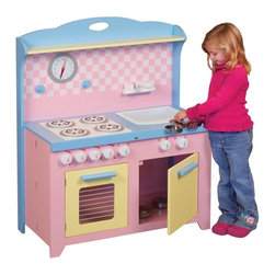 Guidecraft Inc - Guidecraft Hideaway Playtime Kitchen Multicolor - G97272 - Shop for Cooking and Housekeeping from Hayneedle.com! The Guidecraft Hideaway Playtime Kitchen is perfect play kitchen for kids and adults. This play kitchen is fun for kids and in a few simple steps the Hideaway Kitchen compacts to a depth of 6 inches. Perfect for an apartment or just to keep your house tidy! This play kitchen is packed full of fun play features including a sink stove oven with pull out rack dishwasher functioning knobs clock and more. It has a cheery pastel pink blue and yellow color scheme perfect for little girls. Some assembly is required. This kitchen is designed for kids three and older. Keep your little chef and your floor space happy! Recommended ages 3-6 years. Overall dimensions: 30W x 15.25D x 38H inches. About GuidecraftGuidecraft was founded in 1964 in a small woodshop producing 10 items. Today Guidecraft's line includes over 160 educational toys and furnishings. The company's size has changed but their mission remains the same; stay true to the tradition of smart beautifully crafted wood products which allow children's minds and imaginations room to truly wonder and grow. Guidecraft plans to continue far into the future with what they do best while always giving their loyal customers what they have come to expect: expert quality excellent service and an ever-growing collection of creativity-inspiring products for children.