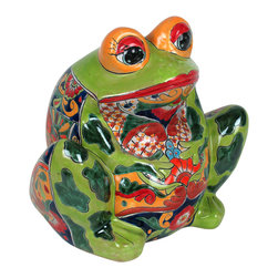 """Large Mexican Talavera Frog Pot - This charming talavera frog pot is sure to delight and amuse you every time you catch it peeking at you in your room or on your patio. Handcrafted and painted by talented Mexican potters. Expect variations in colors and designs as each is unique, but all are painted in the traditional talavera  style. 13.5"""" dia x 13""""h. Free shipping in the continental US."""