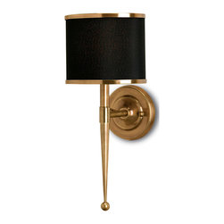 Kathy Kuo Home - Primo Hollywood Regency Modern Brass Black Wall Sconce - Inspired by mid-twentieth century stylistic design, the Primo boasts primly executed detailing in antique brass harking back to that age of adage of less is always more.