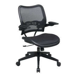 Office Star - Office Star 13 Series AirGrid Seat and Back Chair with Arms in Black - Office Star - Office chairs - 1377N1P3 - Deluxe AirGrid seat and back chair with Cantilever arms. Pneumatic seat height adjustment. 360 Degree Swivel. 2 to 1 Synchro tilt. tilt tension and tilt control.