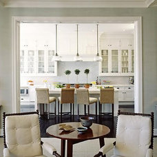 kitchens - Clemson pendant tortoise shell mirrors white tufted wood chairs ivory