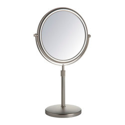 "Jerdon - 5X Vanity Mirror - Features: -Regular and 5x Magnification. -Chrome Finish. -Adjustable extension from 16.5"" to 21.5"". Specifications: -Overall Dimensions: 16.5-21.5"" Height x 9"" Width. -Mirror surface: 9"" diameter."