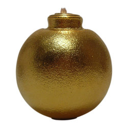 Gold Grenade Oil Lamp, Ball - The hand grenade oil lamps are made from actual US Army surplus grenades and gilded in gold. Each gets its distinct shape from the job it was designed for - fragmentation (pineapple), smoke/flash bombs (lemon), or high impact explosives (ball). This ice breaker will shatter even the thickest, weirdest ice.