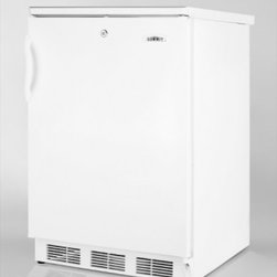 """Summit - FF-6L 24"""" 5.5 cu. ft. Compact Refrigerator with Adjustable Glass Shelves  Door S - SUMMIT39s FF6L is a conveniently sized all-refrigerator with a deluxe interior Automatic defrost saves on time and maintenance while SUMMIT39s unique design simplifies clean-up We use a hidden evaporator set behind the rear wall to create a seamless ..."""