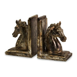 """IMAX CORPORATION - Quinn Horse Bookends - Set of 2 - Regal and finished in antique gold, this set of Quinn Horse Bookends will add class to a home office or living room bookshelf. Whether placed together or staggered on separate shelves, the bookends will stylishly complement your collection of books. For a coordinated look purchase matching statue. Set of 2 in various sizes measuring around 22""""L x 14.75""""W x 18.5""""H each. Shop home furnishings, decor, and accessories from Posh Urban Furnishings. Beautiful, stylish furniture and decor that will brighten your home instantly. Shop modern, traditional, vintage, and world designs."""