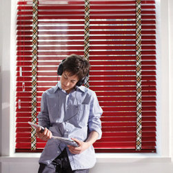 German Shade Systems by, Fenstermann - These are some really cool custom shades. Wood blinds in red, with a nice touch.
