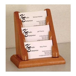 Wooden Mallet - Oak Three-Tier Business Card Display Stand (L - Finish: Light OakTiered to offer a full view of each pocket. Each pocket sits 0.5 in. D to hold a large supply of cards. Made of solid oak sides and bottom sealed in a durable state-of-the-art finish. Pictured in Medium Oak. No assembly required. 4.375 in D x 5.75 in W x 5.75 in. H (1 lb.). 1-Year warrantyWooden Mallet's solid oak countertop business card holders are an attractive way to display multiple cards in an organized fashion. These racks work well to present business cards in any setting or use them for gift cards at point of sale.