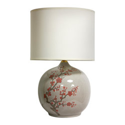"Oriental Furniture - 20"" Cherry Blossom Vase Lamp - Elegantly hand-crafted by artisans in China's Guangdong province, this beautiful piece combines a Song dynasty style porcelain vase. The porcelain part of the lamp features a textured glaze sure to add a colorful accent to any room. A fabric shade on a steel frame completes the design. This porcelain lamp features a three-way light fixture that uses up to a 100 watt bulb and includes a soft hand made shade."