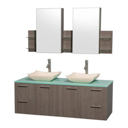 Wyndham Collection - Contemporary Double Bowl Vanity Set - Includes two sinks, green glass top, two medicine cabinets with mirrors, drain assemblies and P-traps for easy assembly. Faucets not included. Square ivory marble sinks. Two functional doors. Concealed soft close door hinges. Modern brushed chrome door pulls. Unique and striking contemporary design. Four functional drawers. Fully-extending soft-close drawer slides. Deep doweled drawers. Single-hole faucet mount. Plenty of storage space. Eight-stage preparation, veneering and finishing process. Highly water-resistant low V.O.C. sealed finish. Metal exterior hardware with brushed chrome finish. Wall-mount design. Six glass shelves. Three shelves behind each mirror. Mirror glass thickness: 0.75 in.. Warranty: Two years limited. Made from beautiful veneers over highest quality grade E1 MDF. Gray oak finish. Door: 17.25 in. W x 20.5 in. H. Drawer: 12.63 in. W x 10.13 in. H. Glass shelves: 4 in. deep. Mirror: 17.75 in. W x 30 in. H. Medicine cabinet: 59.25 in. W x 6 in. D x 30 in. H (82 lbs.). Vanity: 60 in. W x 22.25 in. D x 21.25 in. H (124 lbs.). Handling Instructions. Installation Instructions - Medicine Cabinet. Installation Instructions - VanityModern clean lines and a truly elegant design aesthetic meet affordability in the Wyndham Collection Amare Vanity. Each vanity provides a full complement of storage areas behind sturdy soft-close doors and drawers. A wall-mounted vanity leaves space in your bathroom for you to relax. The simple clean lines of the Amare wall-mounted vanity family are no-fuss and all style.