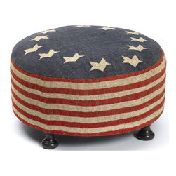 Go Home - Go Home Betsy Ross Ottoman - With a stunning contemporary design, the Betsy Ross Ottoman with small Legs features a rich kilim material covering over the seat. It exhibits a patriotic finish bringing a modern look to any room.