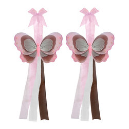 "Bugs-n-Blooms - Butterfly Tie Backs Pink Brown White Triple Layered Butterflies Tieback Pair Set - Window Curtains Holder Holders Tie Backs to Decorate for a Baby Nursery Bedroom, Girls Room Wall Decor - 7""W x 5""H Pink Brown White Triple Layered Curtain Tieback Set Butterfly 2pc Pair - Beautiful window curtains tie backs for kids room decor, baby decoration, childrens decorations. Ideal for Baby Nursery Kids Bedroom Girls Room.  This gorgeous butterfly tieback set is embellished with triple layered wings.  This pretty butterfly decoration is made with a soft bendable wire frame & have various color match trails of organza ribbons.  Has 2 thick color matched organza ribbons to wrap around the curtains.  Visit our store for more great items. Additional styles are available in various colors, please see store for details. Please visit our store on 'How To Hang' for tips and suggestions. Please note: Sizes are approximate and are handmade and variances may occur. Price is for one pair (2 piece)"