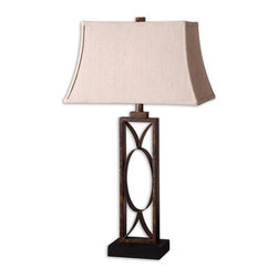 Uttermost - Manicopa Bronze Table Lamp - Mottled Dark Bronze Finish With A Matte Black Foot. The Rectangle Bell Shade Is An Ivory Linen Fabric With Natural Slubbing.