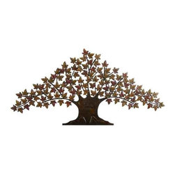 UMA - Large Tree of Life Metal Wall Tree - A large tree of life is depicted in full glory in this artfully crafted piece that takes a contemporary spin on the classic wall tree; great for the den, living area, or foyer