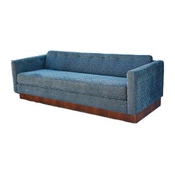 Mid-Century Milo Baughman Style Platform Sofa - This sofa is TO. DIE. FOR. It features brand new steel blue and gray chenille geometric upholstery, brand new seat and back cushions with a simple row of button tufting on the back cushion. All this amazingness rests upon a platform walnut base in the style of Milo Baughman. The sofa has no labels or markings. The piece is circa 1960s-1970s.CONDITION:Brand new upholstery, walnut base is in pretty amazing condition for it's age. Just a couple light stains/spots. Nothing very noticeable.