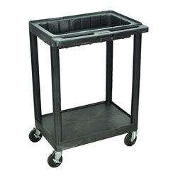 Luxor - Luxor Black 2-shelf Utility Cart - The Luxor two-shelf utility cart is made with recycled polyethylene so shelves will not scratch, rust or dent. With a 400-pound weight capacity and 4-inch ball bearing casters with locking brakes, this cart is durable and practical.