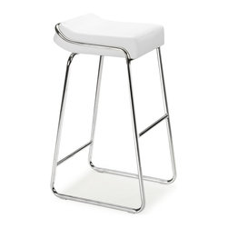 ZUO MODERN - Wedge Bar Chair White (set of 2) - With its thick leatherette cushion and elegant chrome steel tube frame, the Wedgebar chairis the finishing touch in any setting.