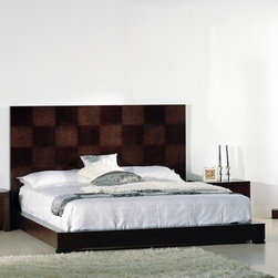 Hokku Designs - Traxler Platform Bed - Features: -Checkered high headboard.-Slats platform system for mattress support.-Offers excellent workmanship in a contemporary package.-Construction: Wood solids and veneer on medium density fiberboard.-Traxler collection.-Please note: Optional Serta Mattress and box spring ships separately from bedroom furniture, and may arrive for delivery on an earlier or later date than bedroom furniture.-Distressed: No.-Collection: Traxler.Dimensions: -Overall Product Weight: 88 lbs.Warranty: -One year warranty.