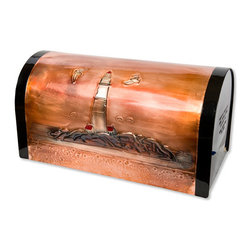 Lighthouse Locking Post Mount Copper Mailbox - Copper - This locking post mount copper mailbox is hand-embossed with a beautiful Oregon coast lighthouse.  The picture is accented with subtle color additions, and is signed and dated by the artist. An outgoing mail section allows you to leave letters for the mail carrier, while incoming mail is secure in a locked section.