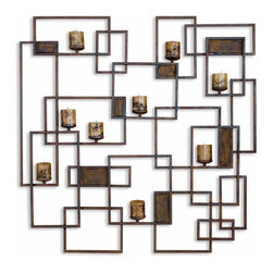 Uttermost - Siam Metal Candlelight Wall Sculpture - Made From Hand Forged Metal, This Decorative Wall Sculpture Is Also A Wall Sconce Finished In Rust Brown. Stained Candles Included.