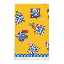 371-Eat Those Peas By Mary Engelbreit Dish Towel - Brighten up any kitchen with Mary Engelbreit's Collection.  Silkscreened on 100% cotton, lint free and wate absorbent.