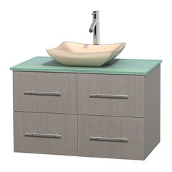 """Wyndham Collection - Centra 36"""" Grey Oak Single Vanity, Green Glass Top, Avalon Ivory Marble Sink - Simplicity and elegance combine in the perfect lines of the Centra vanity by the Wyndham Collection. If cutting-edge contemporary design is your style then the Centra vanity is for you - modern, chic and built to last a lifetime. Available with green glass, pure white man-made stone, ivory marble or white carrera marble counters, with stunning vessel or undermount sink(s) and matching mirror(s). Featuring soft close door hinges, drawer glides, and meticulously finished with brushed chrome hardware. The attention to detail on this beautiful vanity is second to none."""