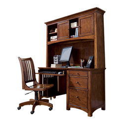 Lea Industries - Lea Elite Crossover Desk with Hutch in Burnished Cherry - Welcome to the Lea Elite collection , Crossover. A mixture of American Country, Arts and Crafts, and Shaker styles are blended to create this collection . The finish is a darker, burnished cherry with a lot of hand applied high lighting and accent; adding to the high style rustic and country design. The hardware is an antiqued brass color and adds even more simple to appeal to Crossover. design details such as the tapered posts accentuated with wood plugs add to the hand crafted motif. Crossover is a versatile group that fits children's and teen rooms, condos, and even smaller master bedrooms.