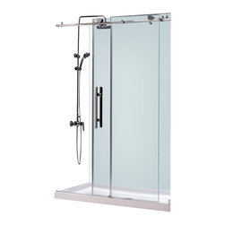 BathAuthority LLC dba Dreamline - Enigma-X Fully Frameless Sliding Shower Door and SlimLine Shower Base - This dream line kit pairs the Enigma-X sliding shower door with a coordinating slim line shower base for a winning combination. The Enigma-X sliding shower door delivers a sleek, Fully frameless design, premium glass and high functioning performance for the look and feel of custom glass at an exceptional value. The coordinating slim line shower base incorporates a low profile design for an unobtrusive modern look. Go for the streamlined look and urban style of the Enigma-X frameless sliding shower door and coordinating slim line shower base for your bathroom renovation.
