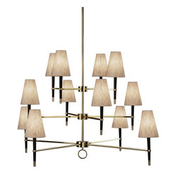 """Jonathan Adler - Contemporary Jonathan Adler Ventana Three-Tier Brass Chandelier - This three-tier chandelier is part of the Ventana Collection from Jonathan Adler by Robert Abbey. Its sleek design features ebony wood with brass accents. Natural linen shades add a modern look. Can take 60 watt bulbs without shades. Direct wire. Ebony Wood. Brass accents. Takes twelve 25 watt candelabra bulbs (not included). 34 3/4"""" high. 54"""" diameter. 38 1/4"""" minimum drop. 68 1/4"""" maximum drop. 6"""" canopy diameter. 1 1/4"""" canopy height. Includes one 6"""" and three 12"""" extensions. Shades are 3"""" across the top 6"""" across the bottom 8"""" high.  Ebony Wood.  Brass accents.  Takes twelve 25 watt candelabra bulbs (not included).  34 3/4"""" high.  54"""" diameter.  38 1/4"""" minimum drop.  68 1/4"""" maximum drop.   6"""" canopy diameter.  1 1/4"""" canopy height.  Includes one 6"""" and three 12"""" extensions  Shades are 3"""" across the top 6"""" across the bottom 8"""" high."""
