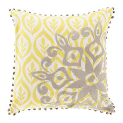 Sun Stamp Pillow in Yellow - Add a splash of bold color and pattern to your decor with this stylish pillow. With just enough pizazz to liven up any room without going overboard, it's ready to be tossed onto a bed, couch, or armchair for year-round style and comfort.