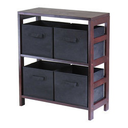 Winsome - Winsome Leo 2-Section Storage Shelf with 4 Foldable Black Fabric Baskets - Winsome - Storage Cabinets - 92261 - Winsome Leo 2-Section wide storage shelf in espresso. Its two sections hold the espresso large storage basket or two small storage baskets perfectly. Mix and match with the other espresso storage shelves.