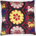 Suzani Pillow Cover - Suzani pillows are the perfect way to bring a pop of color and a touch of texture to any room. I would love to pair this hand-embroidered vintage suzani pillow cover with a simple white duvet.