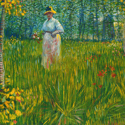 WCC - Femme Dans Un Jardin by Vincent Van Gogh Giclee Print Reproduction - High quality 0.56 mm thick 400 gsm cotton canvas.