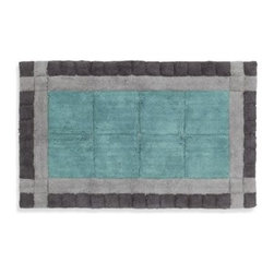 """Creative Bath Products - Byzantine Cotton Bath Rug - This Mediterranean-inspired rug adds a touch of luxury to your bathroom. The soft cotton construction with its soft blue and gray color tones will set a serene tone to your space. Non-skid bottom. Measure 20"""" x 30""""."""